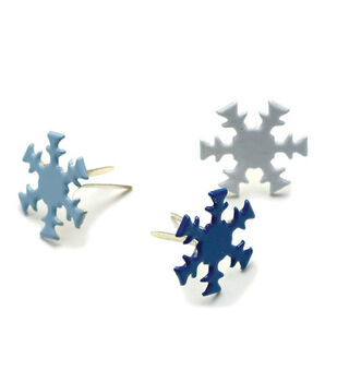 Painted Metal Snowflake Paper Fasteners-50PK/Winter