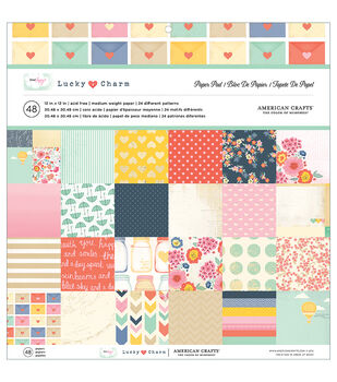 """American Crafts Paper Pad 12""""X12"""" 48/Pkg-Dear Lizzy - Lucky Charm"""