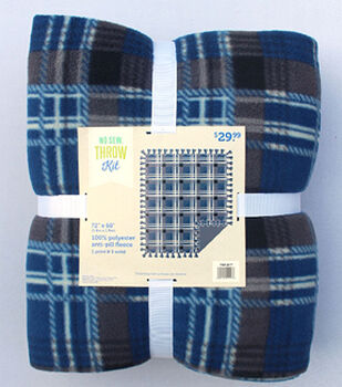 "72"" No Sew Throw-Navy Plaid"