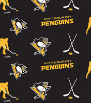 Pittsburgh Penguins  NHL Tossed Print Fleece Fabric, , hi-res