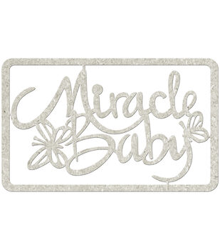 Fabscraps Miracle Baby Die-Cut Gray Chipboard Word