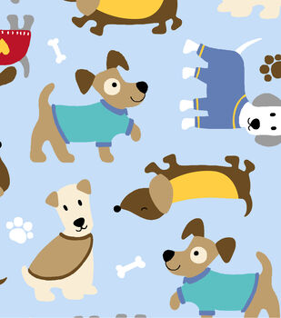 Anti-Pill Fleece Fabric - Cozy Puppies Brown & Blue