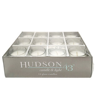 Hudson 43™ Candle & Light Collection 12pk Unscented  Glass Votive Candles-White