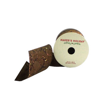 Maker's Holiday 2.5'' X 25' Ribbon-Floral Glitter