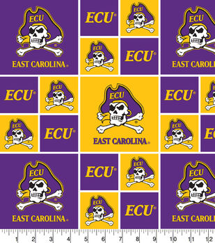 East Carolina University NCAA Block Cotton Fabric