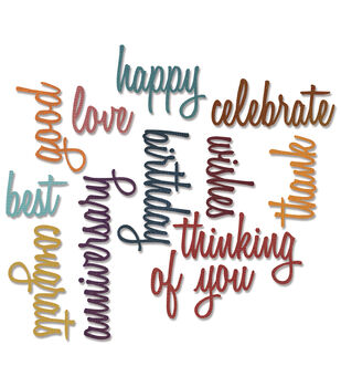 Sizzix Thinlits Dies 13/Pkg By Tim Holtz-Celebration Script Words