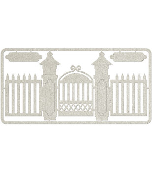 Fabscraps Picket Fence & Gate Die-Cut Gray Chipboard Embellishments