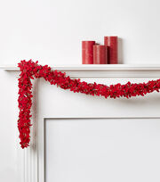 Blooming Holiday Chain Poinsettia Garland, , hi-res