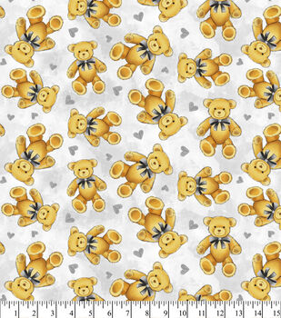 Nursery Flannel Fabric-Teddy Bear Grey