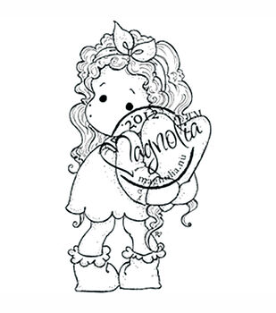 With Love Cling Stamp-Tilda Hiding Heart