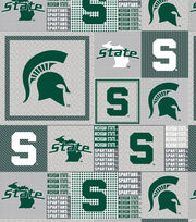 Michigan State University NCAA Heather Gray Block Fleece Fabric, , hi-res