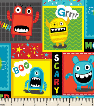 Snuggle Flannel Fabric-Mayhem Monster Patch