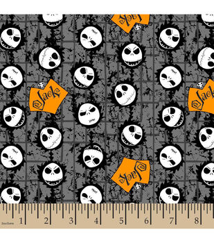 Holiday Inspirations Fabric Nightmare Before  Christmas Jack Head Toss