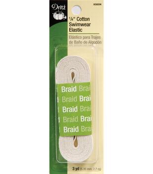 "Dritz 1/4"" Cotton Swimwear Elastic Ivory"