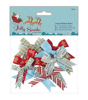 Papermania Jolly Santa 12ct Large Ribbon Bows