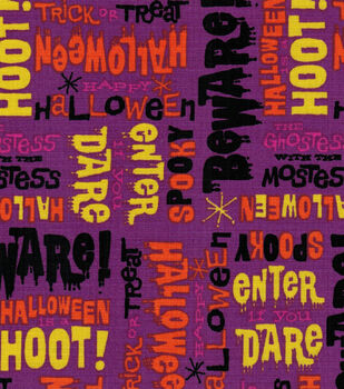 Halloween Cotton Fabric- Monster Words