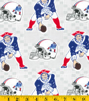 New England Patriots NFL Retro Gray Cotton by Fabric Traditions, , hi-res