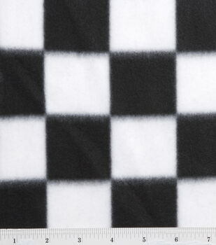 Blizzard Fleece Fabric-Black/White Check
