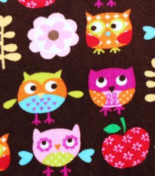 Anti-Pill Fleece Fabric-Apple Of My Owl