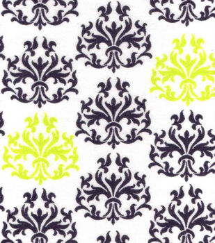 Snuggle Flannel Fabric-Lime Punch Damask