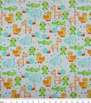 Nursery Flannel Fabric-Happy Jungle Animals White