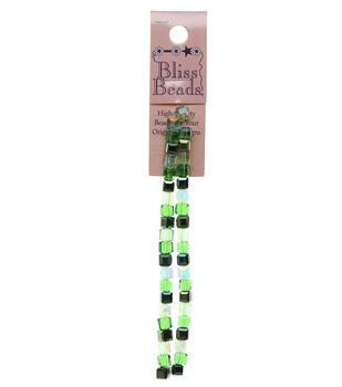 Bliss Beads Green Glass Cube Mix