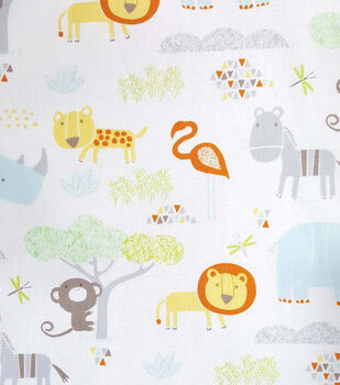 Magic Moon Savanna Friends Cotton Fabric-Animals