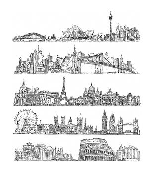 Stampers Anonymous Cityscapes Cling Rubber Stamp Set