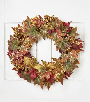 Blooming Autumn 22'' Berry, Maple Leaves & Twig Wreath-Burgundy & Green