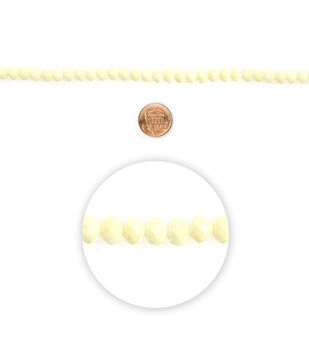 """Blue Moon Beads 7"""" Strand Glass Bead Roundel Faceted Cream"""