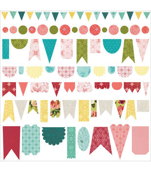 Basic Grey Tea Garden Banner Cardstock Stickers 12''x12''