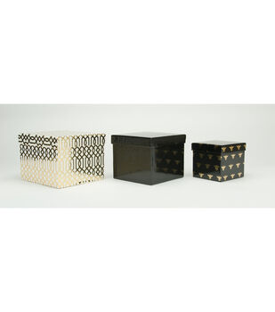 DCWV Square Nested Box Set: Black with Gold Foil