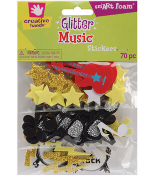 Fibre Craft Creative Foam Glitter Stickers 70 Music