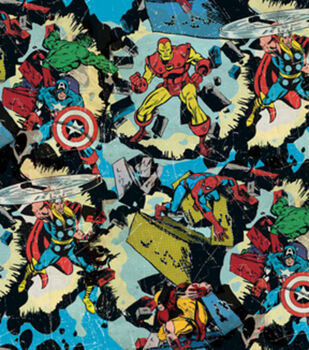 Marvel Retro Smashing Cotton Fabric