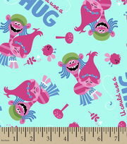 Dreamworks Trolls U Could Use A Hug Flannel Fabric, , hi-res