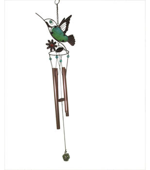 In The Garden Glass Hummingbird Wind Chime