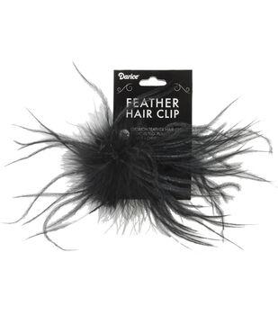BLACK  -OST FEATHR HAIR CLIP