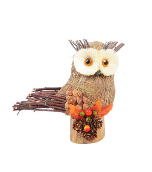 Blooming Autumn Owl Standing On Base