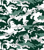 Michigan State University NCAA Camo Fleece Fabric, , hi-res