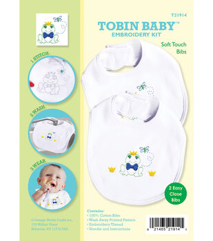 Tobin Baby Frog Soft Touch Bibs Embroidery Kit-Set Of 2
