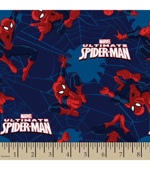 Marvel Comics Ultimate Spiderman Toss Flannel Fabric