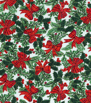 Holiday Inspirations Fabric-Bows & Mistletoe With Metallic