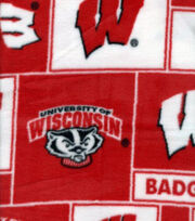 University of Wisconsin NCAA Block Fleece Fabric, , hi-res