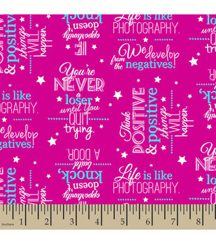 Snuggle Flannel Fabric-Positive Words Pink