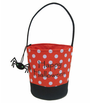 Maker's Halloween Treat Bag-Orange/White Dot with Charm