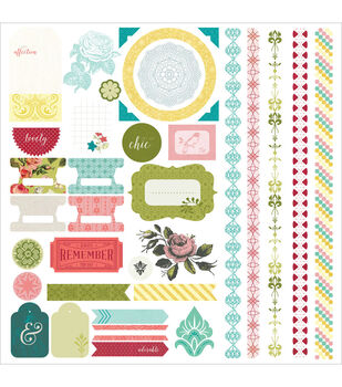 Basic Grey Tea Garden Element Cardstock Stickers 12''x12''