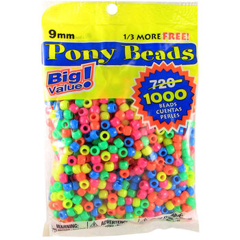 Darice Pony Bead Big Value Pack Neon Multicolor
