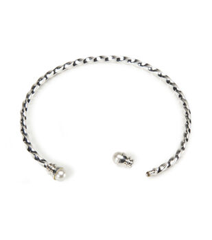 Twist End Spiral Bangle Bracelets, Silver Finish w/Pearl Ends
