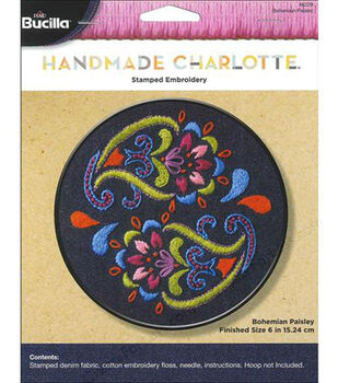 """Bohemian Paisley Stamped Embroidery Kit-6"""" Round"""