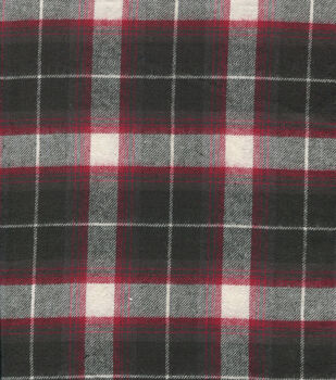 Flannel Shirting Cotton Red Black White